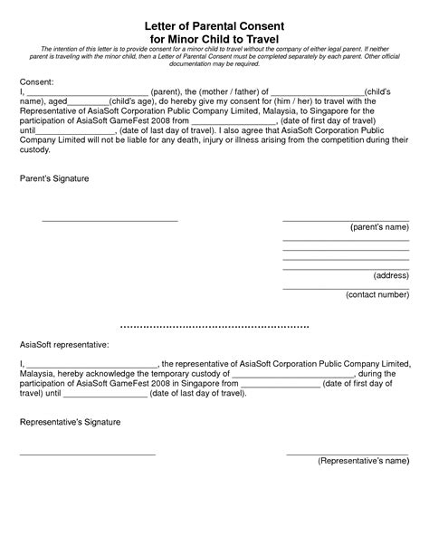 consent letter sle minor travelling parental consent letter 10 parental consent form for