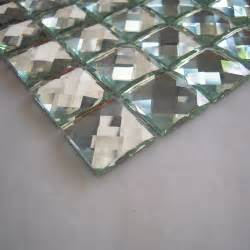 glossy silver color 13 faced diamond mirror glass mosaic tile luxury fashion mirror tiles for