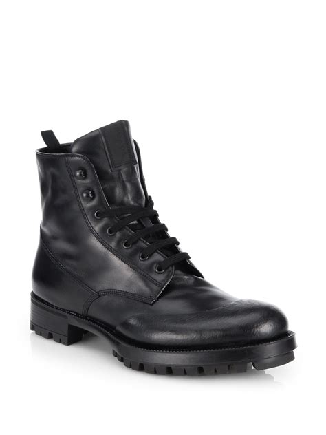 prada boots mens prada laceup leather combat boots in black for lyst