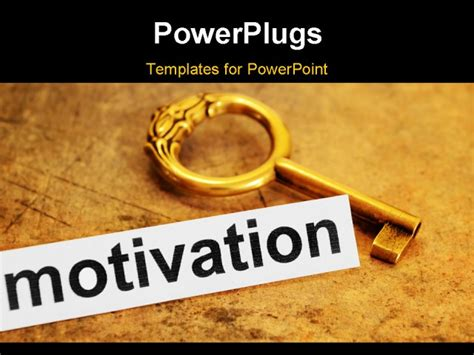 close up of key and motivation concept powerpoint template