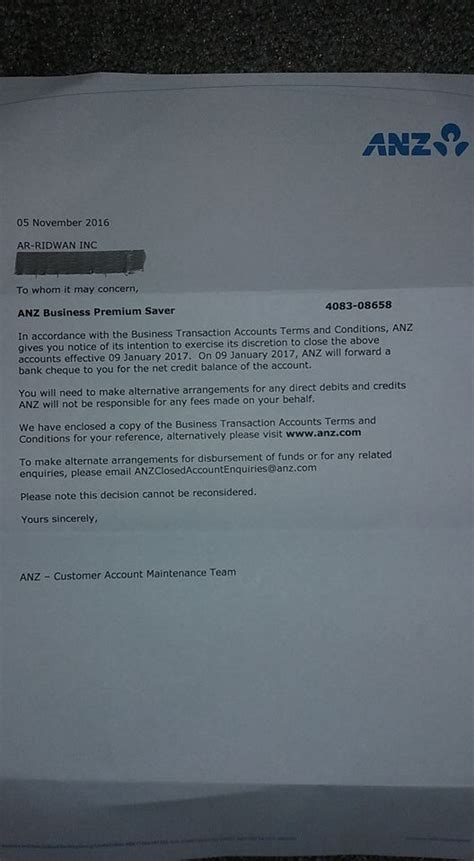 closing account letter westpac anz shuts extremist bank account