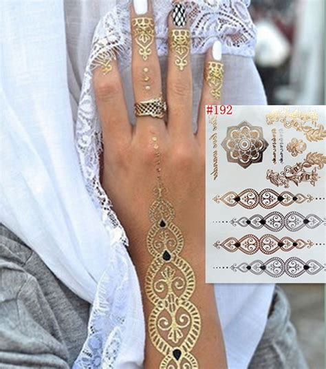 henna metallic temporary tattoo wholesale metallic tatoo temporary flash waterproof
