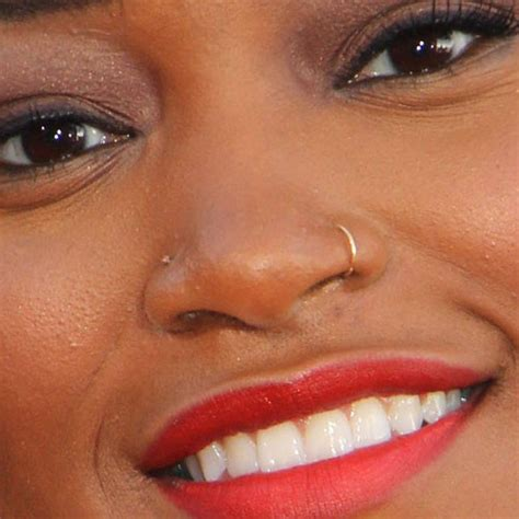keke palmer piercing with gold hoop ring