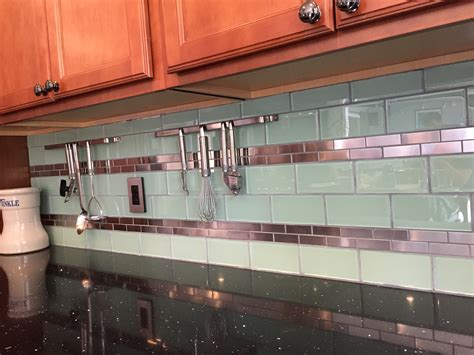 stainless steel 1 quot x 3 quot and surf glass kitchen backsplash