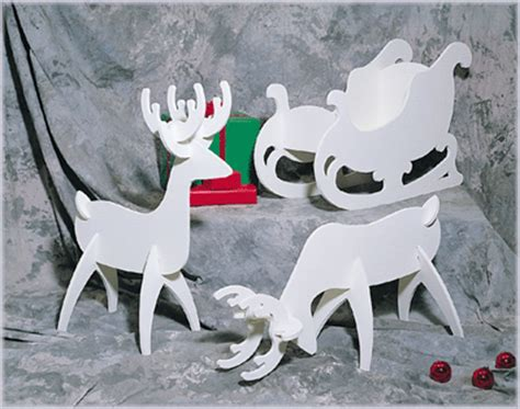 pattern for white wooden reindeer white reindeer white sleigh plan no c122 holiday