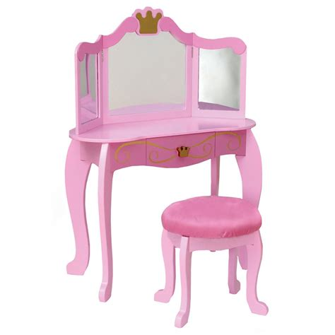 kidkraft pink princess bedroom vanity set 76125