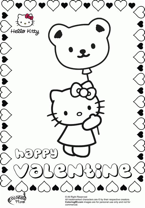 hello kitty coloring pages for valentines day free hello kitty valentine coloring pages coloring home