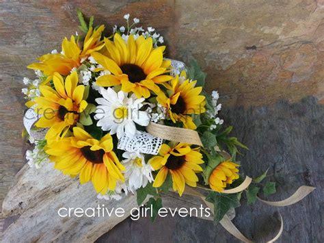 Wedding Bouquets Using Sunflowers by Sunflower Cascade Bouquet W Burlap Lace Sunflower