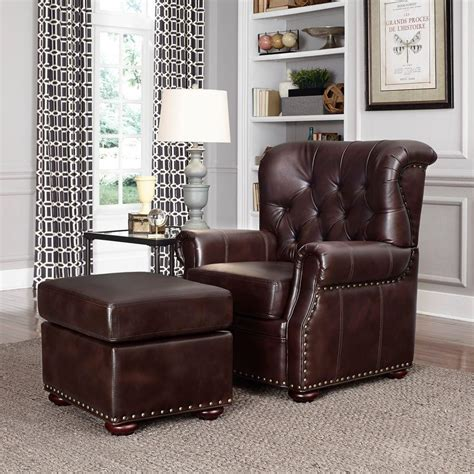arm chair with ottoman home styles cocoa brown faux leather arm chair