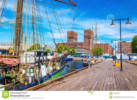 pier x oslo pier oslo fjord with sailing ship norway stock image