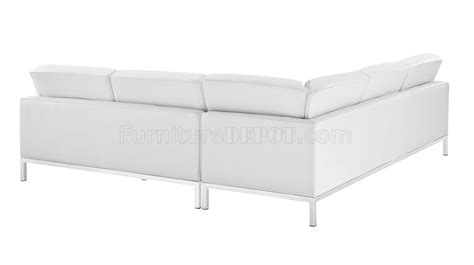 white leather l shaped sofa loft l shaped sectional sofa in white leather by modway