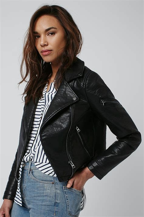 Faux Leather Jacket faux leather biker jacket topshop