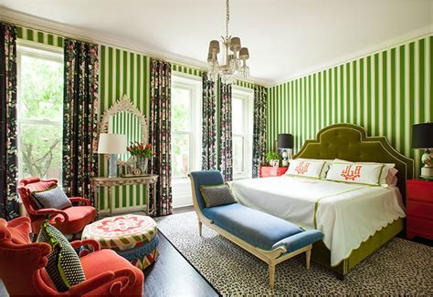 Green and Red Bedroom by Summer Thornton Design