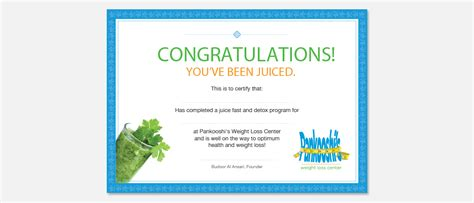 weight loss certificate template certificate