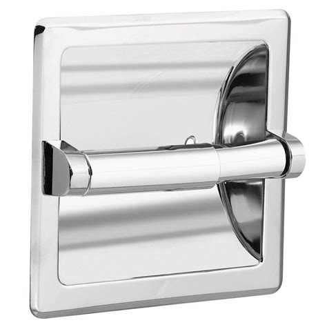 recessed toilet paper holder with shelf moen recessed toilet paper holder in chrome with matching roller 2575 the home depot