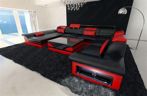 leather sectional sofa enzo xxl black red ebay