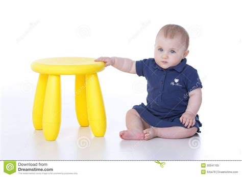Toddler Yellow Stool by Baby Supported Royalty Free Stock Photo Image 30341105