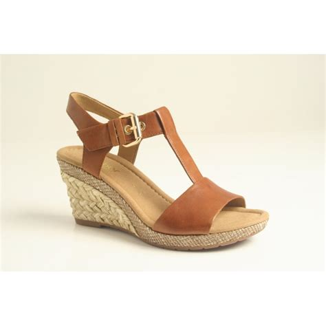 Sandal Wedges gabor gabor style quot quot peanut leather t bar wedge sandal with brass buckle and platted