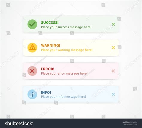 ui pattern notification notification messages web design success warning stock