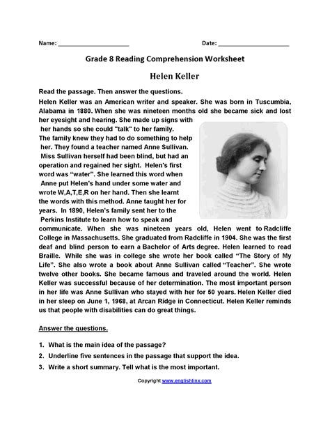 hellen keller scholastic biography questions reading worksheets for eighth graders reading