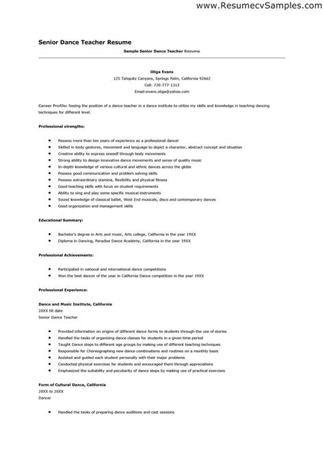 resume for teachers exles resume free excel templates