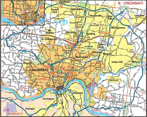 map of cincinnati cincinnati ohio on state map pictures to pin on pinsdaddy