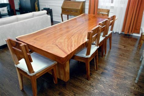 natural wood dining room tables natural edge slab dining table