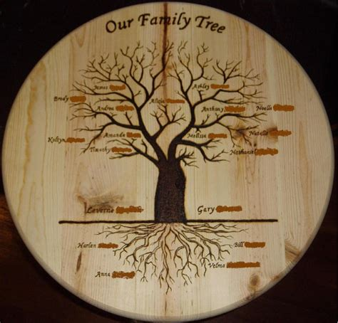 family woodworking wood burned family tree great family gift by