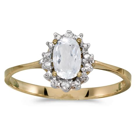 Sherry Topaz 10 02 Ct 10k yellow gold oval white topaz and ring