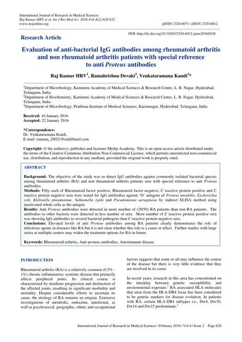 Rheumatoid Arthritis And Proteus pdf evaluation of anti bacterial igg antibodies among