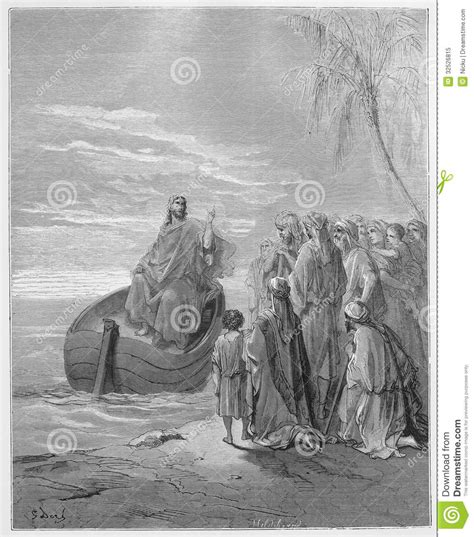 the forever ship the sermon books jesus preaching at the sea of galilee editorial image