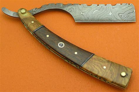knife razor custom handmade damascus barber razor knife