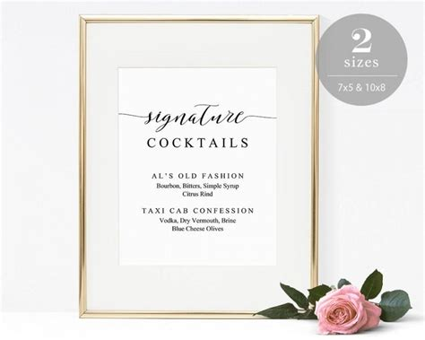 wedding drink menu template signature cocktails sign template printable drink sign