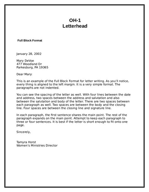 Business Letter Format Spaces Between Date And Address 2018 block letter format fillable printable pdf forms