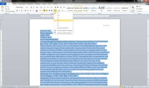 how to use spaces is a bibliography double spaced