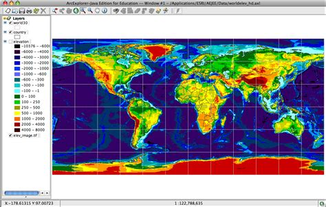 elevation map of the world install gis