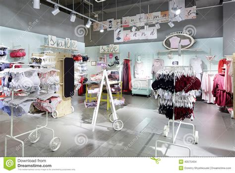 interior  bright underwear shop stock photo image