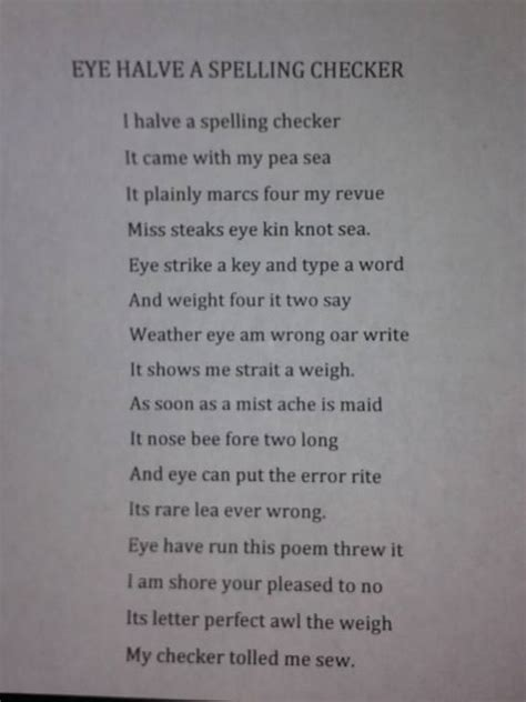 Spelling Is I Really by Eye Halve A Spelling Checker Pictures Quotes