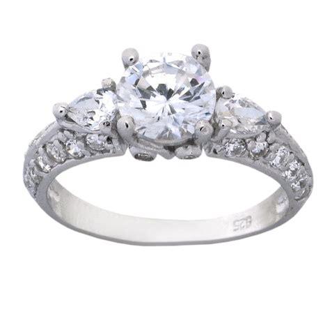 three 2 carat cubic zirconia antique engagement ring