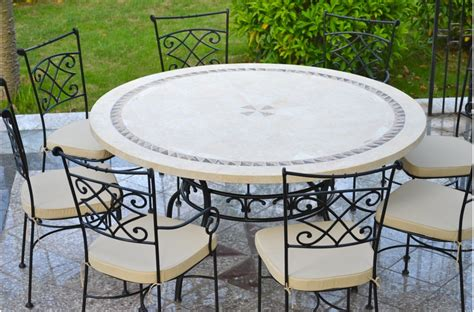 """49 63"""" Round Stone Patio Outdoor Dining Table Mosaic"""