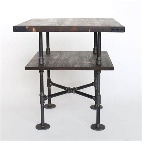 industrial end table industrial style square end table black pipe wood
