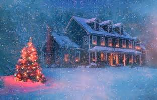 Home for christmas snow tree house abstract hd wallpaper 1631895