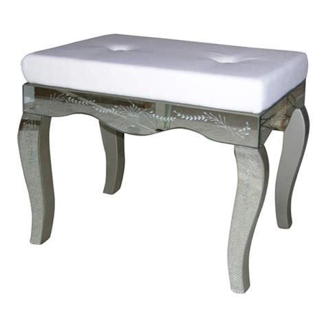 upholstered vanity bench etched mirrored vanity bench with upholstered seat at 1stdibs