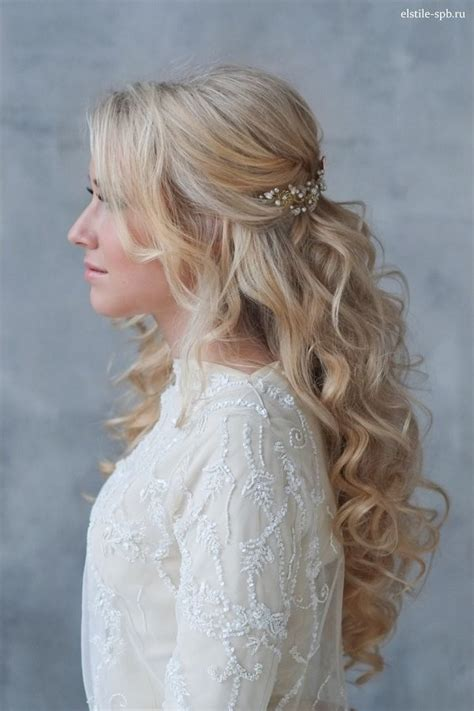 half up half down hairstyles for 50 year old long wavy half up half down wedding hairstyle with pearl