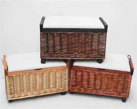 pine or brown wicker bedroom storage unit chest trunk