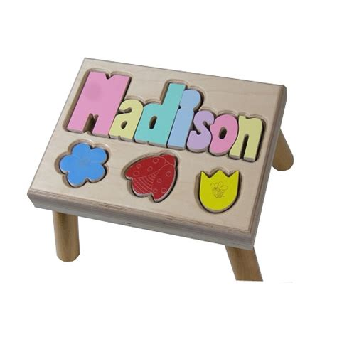 Baby Name Step Stool by Flowers Puzzle Name Stool Personalized Step Stools