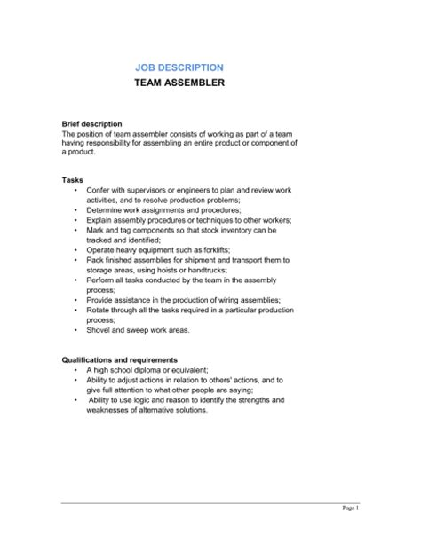 team assembler description template sle form