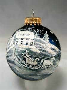 French Country Toile - hand painted christmas glass ball ornament by picklelilydesign