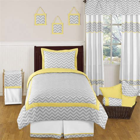 yellow gray and white bedding zig zag yellow and gray chevron twin bedding collection