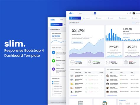 Slim Responsive Bootstrap 4 Dashboard Template Designstub Responsive Bootstrap Dashboard Template Free